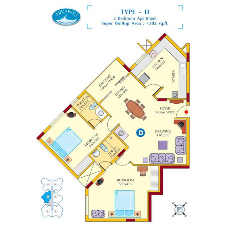 Floor plan D - Aquarius 3BHK Luxury Apartments for