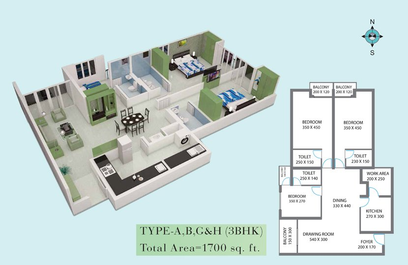 Royal Gardens Luxury Flats Kottayam - Floor Plan