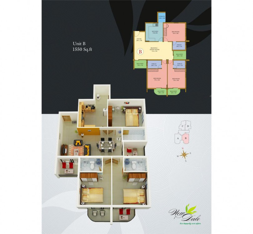 Typical floor plan - New Dale Apartments Kottayam