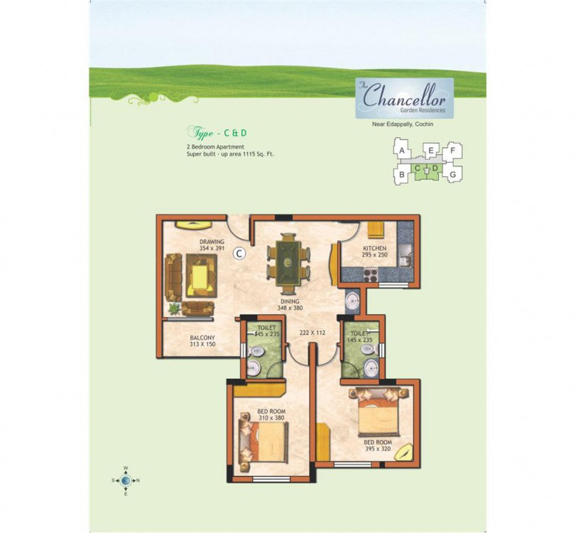 Typical floor plan 3 - The Chancellor Garden Resid