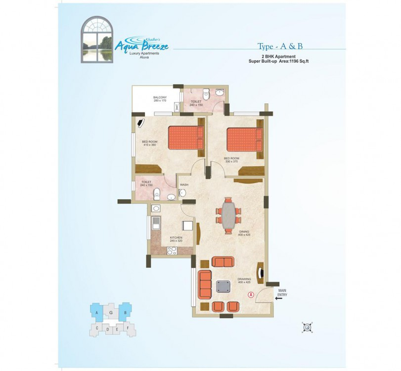 Typical plan of Aqua Breeze Apartments Aluva