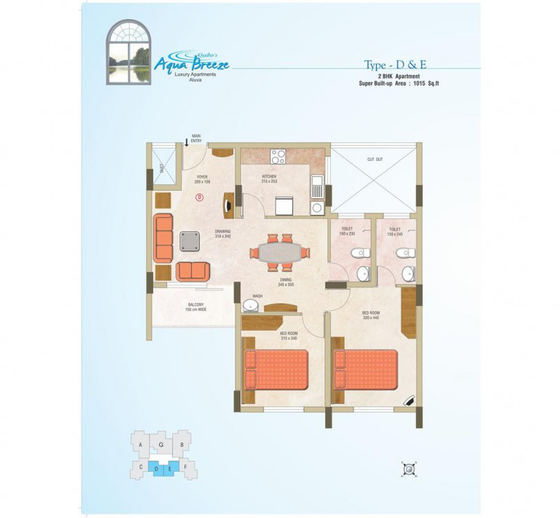 Building plan of Aqua Breeze Luxury Flats Aluva