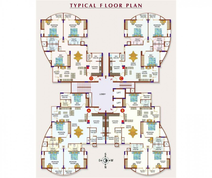 Floor plan - Silver Crest 4BHK Luxury Apartments,