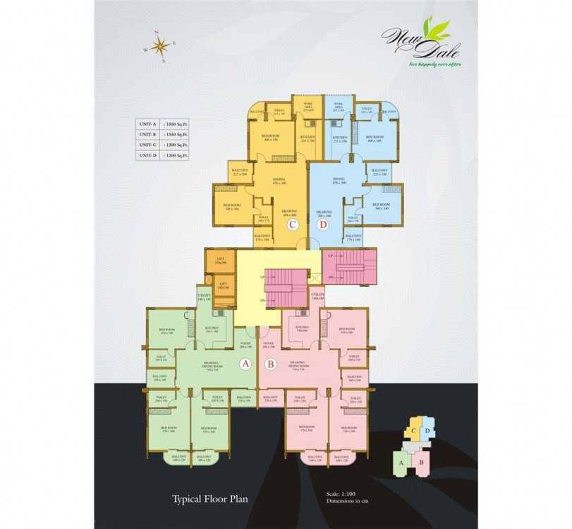 Typical floor plan - New Dale Luxury Flats kottaya