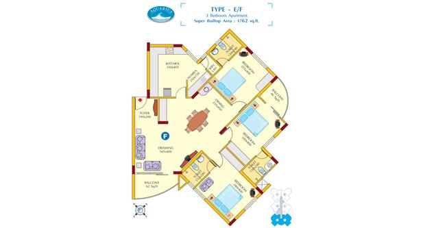 Floor plan E & F - Aquarius 3BHK Luxury Apartments
