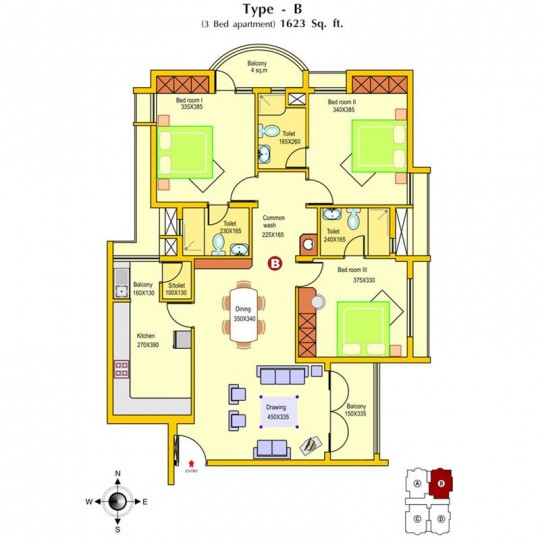 Floor plans - North Star 3 BHK Deluxe Apartments,