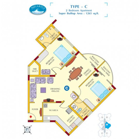 Floor plan C - Aquarius 3BHK Luxury Apartments for
