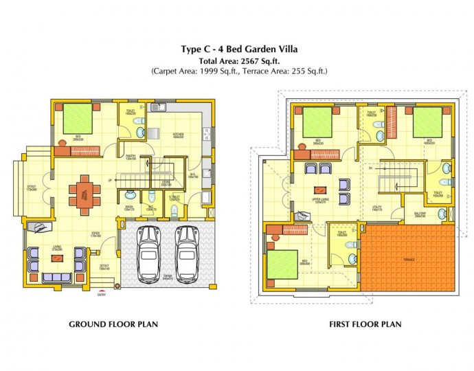 Floor Plans - Rainbow Retreat 3BHK and 4 BHK Garde