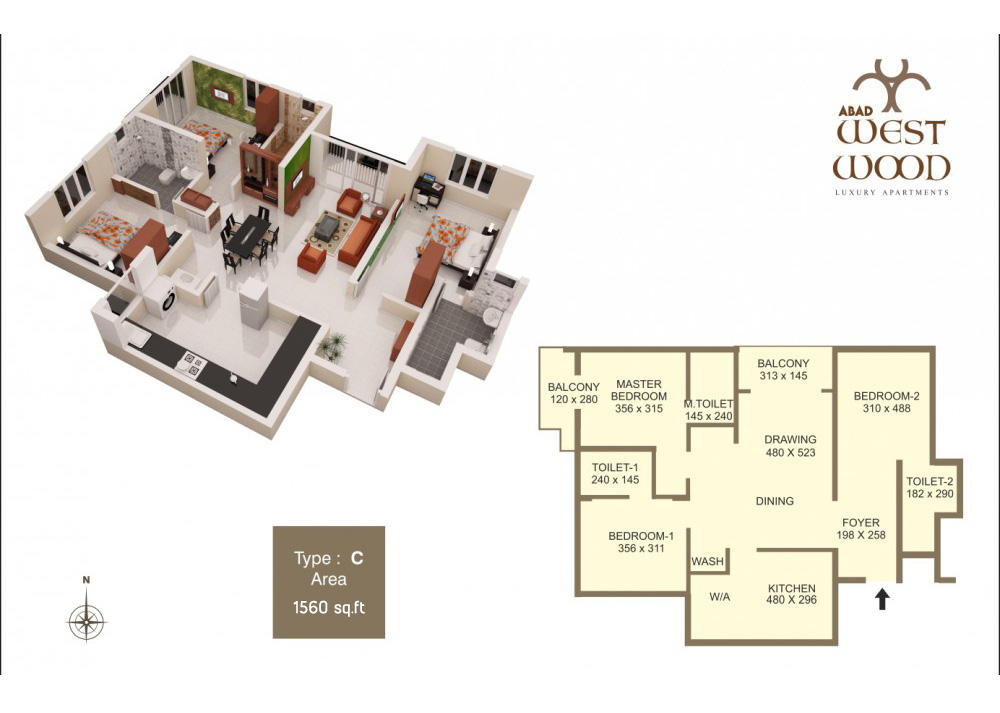 Floor Plan -  West Wood Premium Apartments, Panaya
