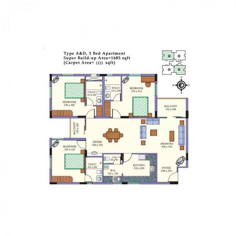 Floor plan - Cloud Nine 3BHK Deluxe Apartments, Pa