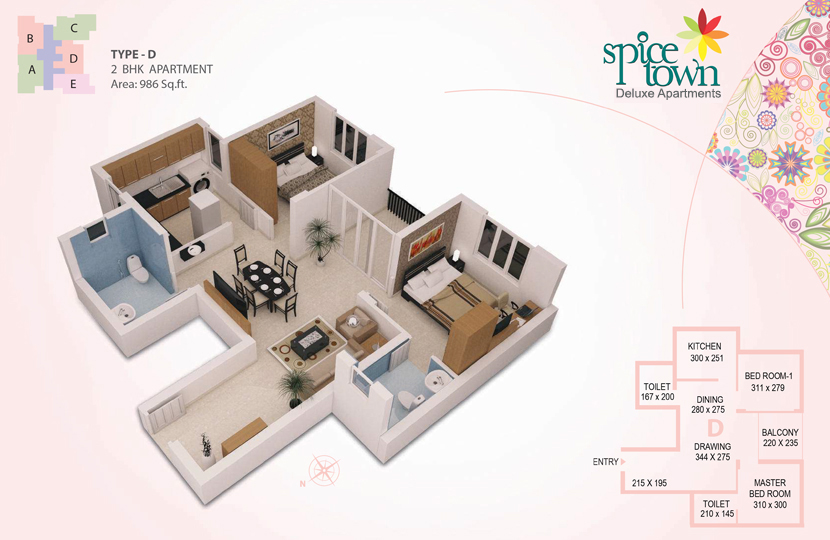 Typical Floor Plan - Spice Town Luxury Apartments,