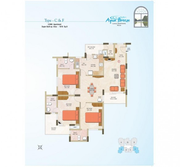 Typical plan of Aqua Breez Apartments Aluva