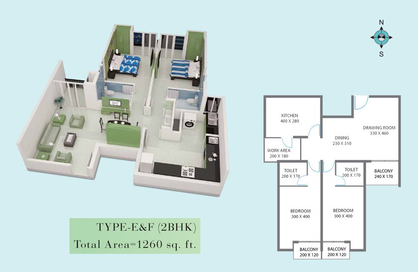 Typical Floor plan - Royal Gardens Kottayam