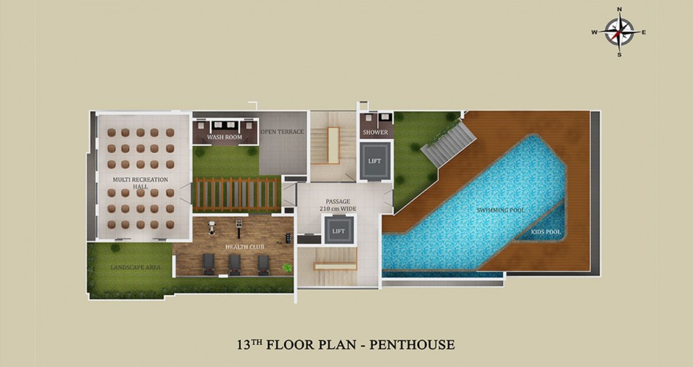13th Floor Plan Pentahouse