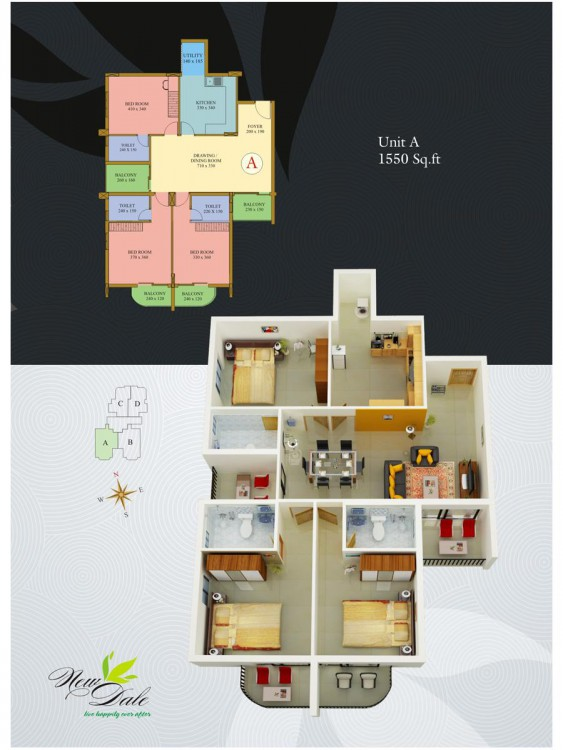 Typical floor plan - New Dale Apartments in Kottay