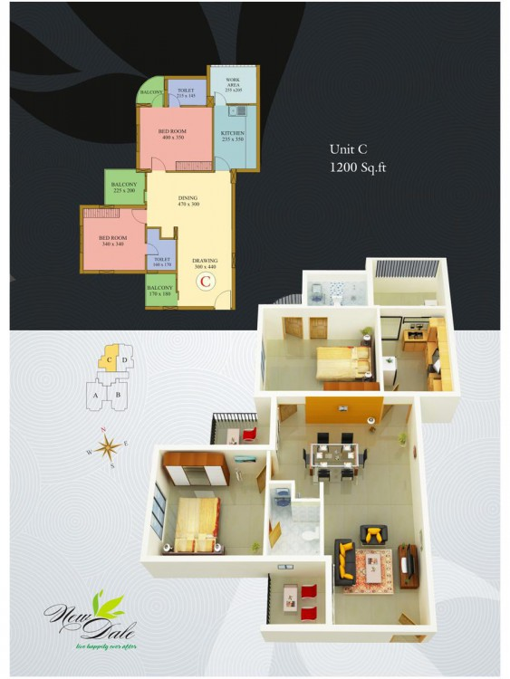 floor plan - New Dale Deluxe Apartments Kottayam,