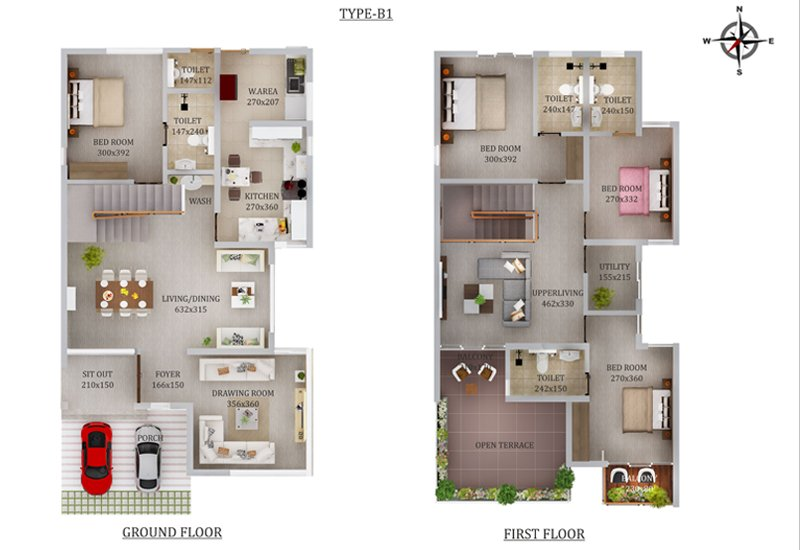 Floor Plans - Type B1 2D View